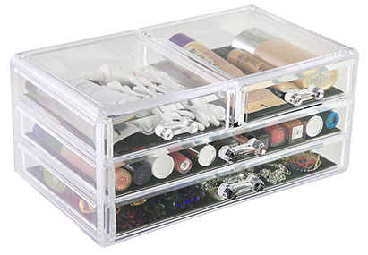 Sympler drawer storage solution is made from durable acrylic, with 4 strong drawers