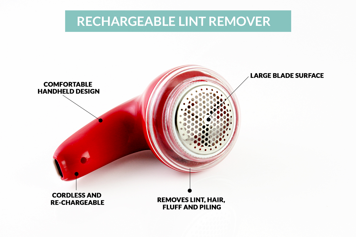 The rechargeable lint remover by Sympler is cordless and easy, with a red design