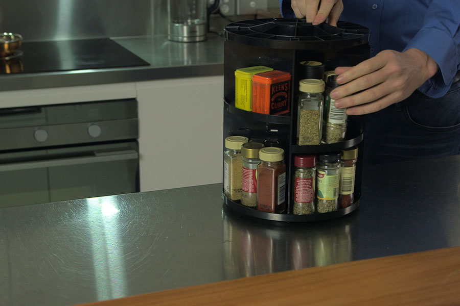 Store your kitchen spices neat and tidy, spin and store for a great storage idea with this kitchen space hack